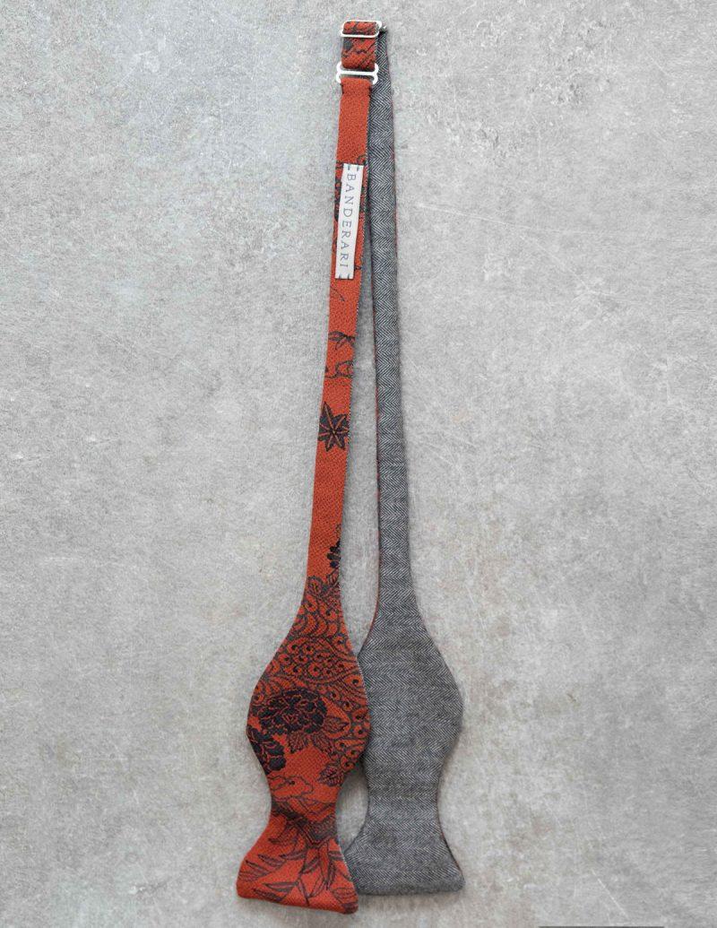 Papillon da uomo sartoriale da annodare - Seta giapponese ricavata da un kimono floreale rosso - Esclusivo farfallino da cerimonia 100% Made in Italy