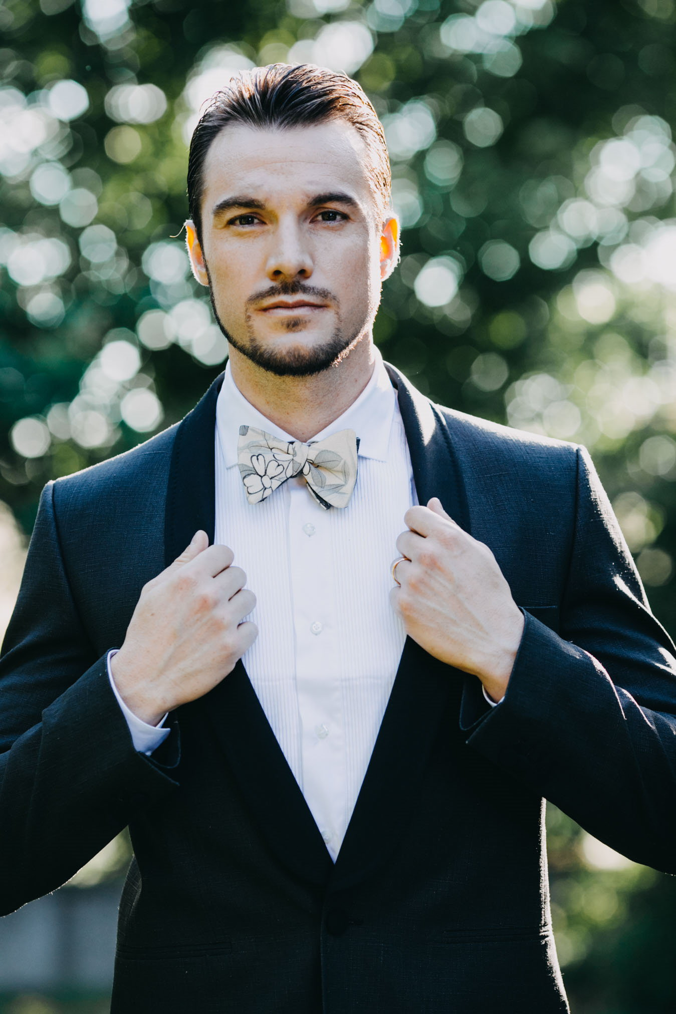 groom's tuxedo for the ceremony and original bow tie in Japanese silk