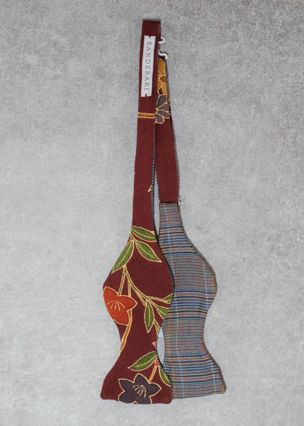 Papillon da uomo sartoriale da annodare - Seta giapponese ricavata da un kimono vintage fantasia floreale rosso da cerimonia 100% Made in Italy