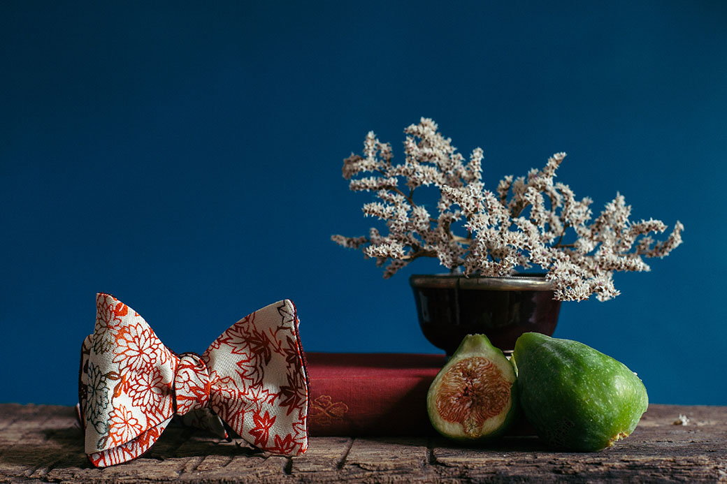 raw materials quality nature - bow tie to tie in Shibusa Japanese silk
