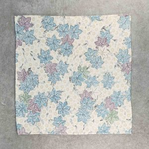 Fazzoletto da taschino in seta giapponese Okotanope fantasia floreale bianco celeste viola verde