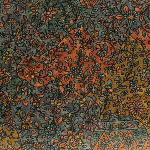Fazzoletto da taschino in seta giapponese Okotanope fantasia floreale arancio verde