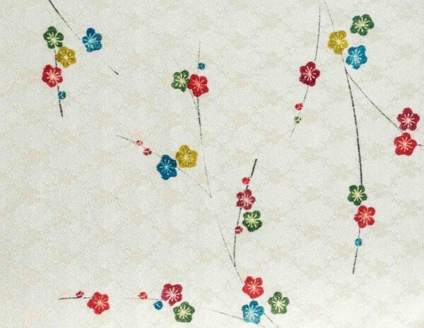 Fazzoletto da taschino in seta giapponese Okotanope fantasia floreale avorio senape verde blu pavone petrolio rosso