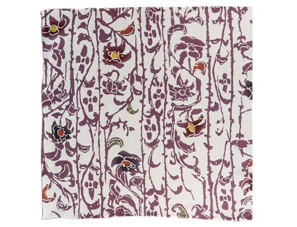 Fazzoletto da taschino in seta giapponese Okotanope fantasia floreale bianco viola senape