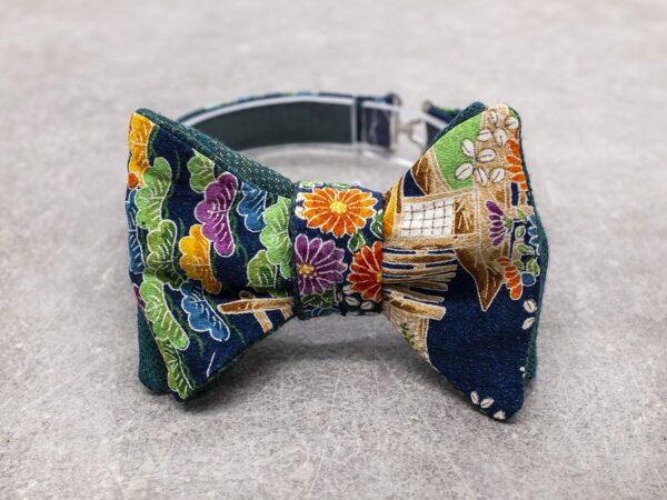 Papillon da uomo sartoriale da annodare - Seta giapponese ricavata da un kimono vintage blu floreale arancio verde lilla e arancio e retro in flanella di lana verde petrolio - Farfallino da cerimonia Made in Italy