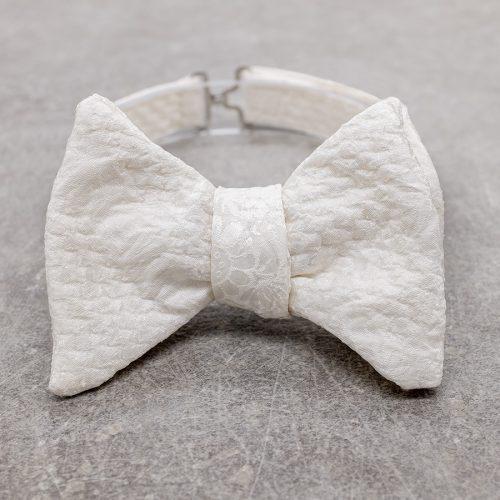 Papillon da uomo sartoriale da annodare - Seta giapponese ricavata da un kimono vintage floreale bianco - Farfallino da cerimonia 100% Made in Italy dress code white tie perfetto per il frac