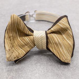 Papillon da uomo sartoriale da annodare - Seta giapponese ricavata da un kimono vintage oro - Farfallino da cerimonia 100% Made in Italy e cashmere