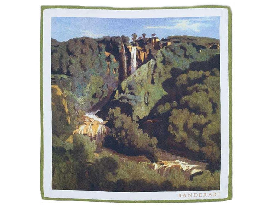 """Fazzoletto da taschino in seta ispirato dall'opera di Jean-Baptiste-Camille Corot """"La cascata delle Marmore"""". Fazzoletto da giacca orlata a mano Made in Italy."""