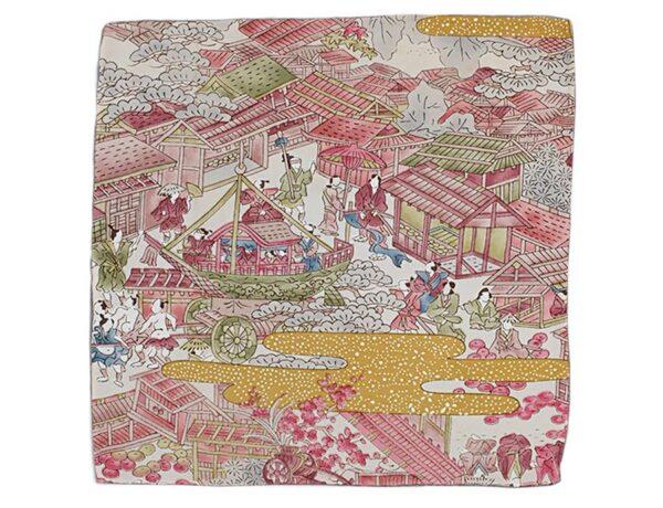 Fazzoletto da taschino in seta giapponese fantasia paesaggio del periodo Edo con figure animate bianco, magenta, ocra, verde, blu.