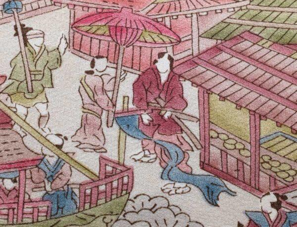 Elegante fazzoletto da taschino sartoriale in seta giapponese orlata a mano con scene. Pochette da giacca bianco, magenta, ocra, verde, blu orlata mano.