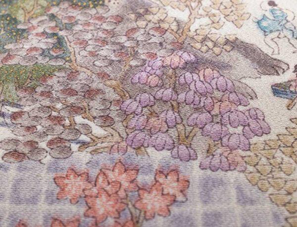 Fazzoletto da taschino in seta giapponese fantasia paesaggio del periodo Edo con figure animate.